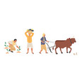 indian farmer character set flat isolated vector image