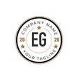 initial letter eg elegance logo design template vector image vector image
