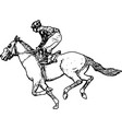 jockey riding race horse drawing vector image vector image