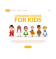 language courses for kids landing page template vector image vector image