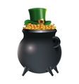 leprechaun hat on pot gold coins background vector image vector image
