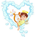 little baby angel with harp vector image vector image