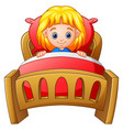 little girl sleeping in bed vector image vector image
