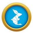 origami rabbit icon blue isolated vector image vector image