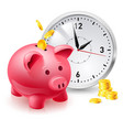 pink pig bank with coins and clock of designer vector image