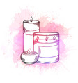 relax candles black and white sketch vector image vector image