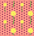 seamless floral pattern with yellow cosmos flowers vector image vector image