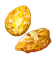 set a faceted and raw gemstone isolated on a white vector image