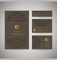 set of four ornamental gold cards with flower vector image vector image