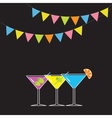 Set of three glasses with different cocktails vector image vector image