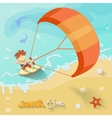 Summer time poster with Sea sun ocean fichcrab and vector image