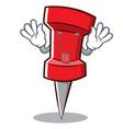 tongue out red pin character cartoon vector image vector image
