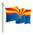 waving arizona flag isolated on a white background vector image vector image