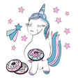 with cute cartoon unicorn vector image vector image