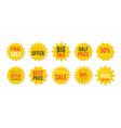 yellow sale starburst sticker set - star edge vector image