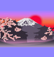 beautiful japanese spring landscape template vector image