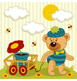 teddy bear with flower in pot vector image