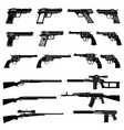 gun and automatic weapon icons military vector image