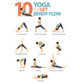 10 yoga poses to bendy flow vector image vector image