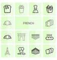 14 french icons vector image vector image