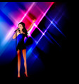a girl on stage sings into a microphone vector image vector image