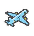 airplane blue plane icon cartoon vector image