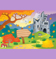 autumn theme with castle ruins 2 vector image vector image