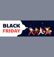 black friday mega sale banner scene with a crowd vector image vector image