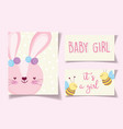 boy or girl gender reveal its a girl cute rabbit vector image