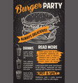 burger poster for fast food restaurant template vector image vector image
