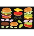 burgers isolated on black background vector image