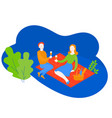cartoon couple on romantic picnic with basket vector image vector image