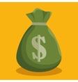 cartoon green bag money cash icon vector image