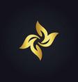 circle gold leaf floral logo vector image vector image