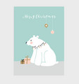 cute merry christmas greeting card invitation vector image vector image