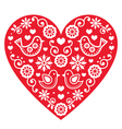 Folk art Valentines Day heart- love wedding vector image