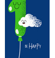 funny happy birthday gift card number 1 balloon vector image vector image