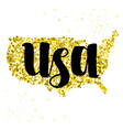 Golden glitter map of United States of America vector image vector image