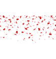 heart falling confetti isolated white background vector image vector image