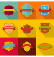 heraldic icons set flat style vector image