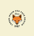 line style fox face with retro typography vector image vector image