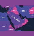 middle east map high detailed political map of vector image vector image