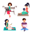 modern people with devices sit on wooden bench set vector image vector image