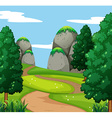 Nature scene with mountain and trees vector image vector image