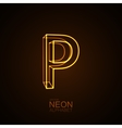 Neon 3D letter P vector image vector image