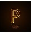 Neon 3D letter P vector image