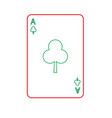 poker casino ace club card playing icon vector image vector image