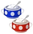 Porcelain blue and red bowl with spoon isolated vector image