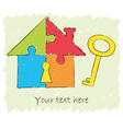 Puzzle house with key drawing vector image vector image