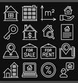 real estate icons set on black background line vector image vector image